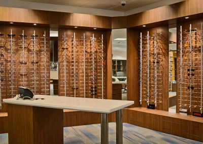 Vision Institute Downtown display case & optician desk