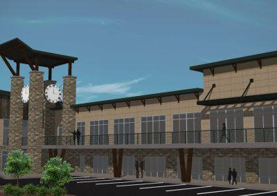 Silverthorne shopping center - 3D rendering clock tower