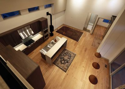 Urban Living: overhead view of kitchen, dining & living spaces