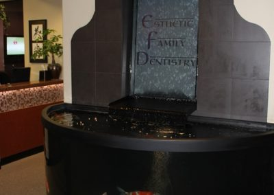 Esthetic Dentistry: water feature with live fish tank