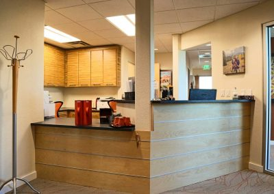 Rock Dental: reception with coffee station
