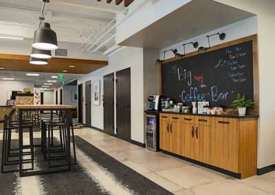 Bank of San Juans reception area with coffee bar